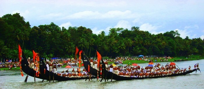 Colourful Snake Boat races during Onam festival in Alappuzha, Kerala