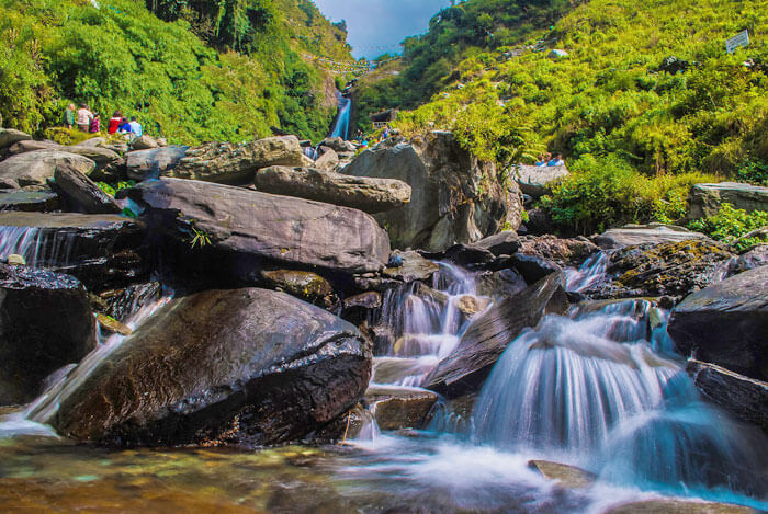 The majestic Bhagsunag waterfalls present a picturesque view to the travelers