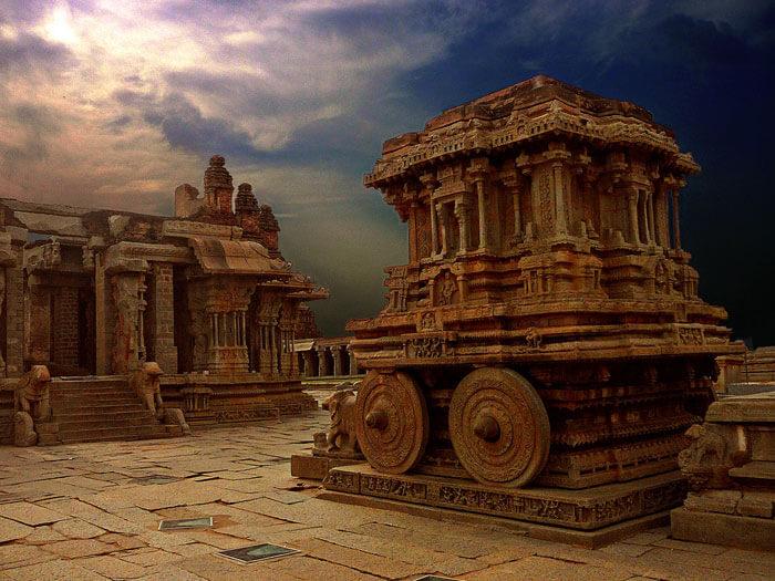 The historical monuments at Hampi are reminiscent of the Vijayanagar history