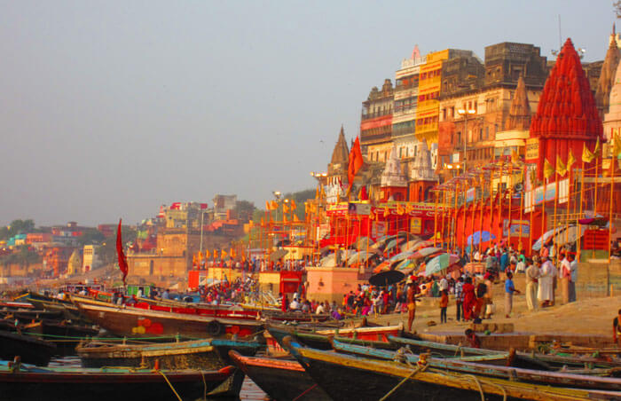Boat rides in the Ganges are available from Varanasi