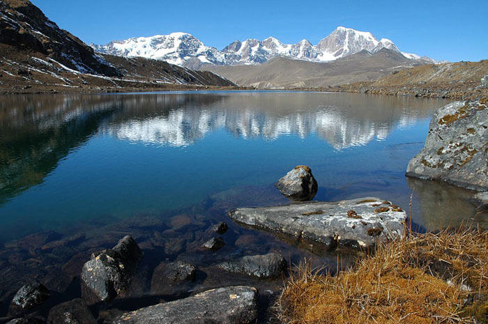 Splendid view of the Crows Lake in North Sikkim