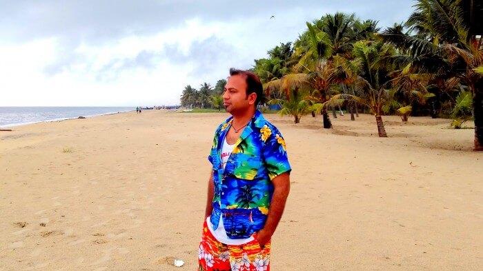 The serene Alleppey beach in Kerala