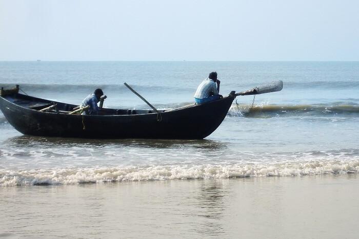 A shot of a fishing boat in Mandarmani Sea Beach