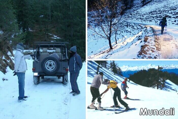 A collage of the snowboarding India tours at Mundali