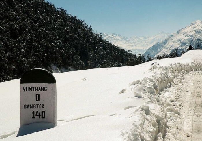 A view of the mile stone at the quaint Yamthang Valley