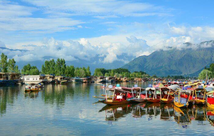 Dal Lake with Shikaras in Srinagar