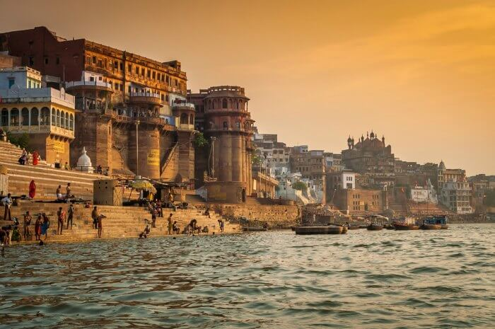 The Ghats beside the Ganges in Varanasi