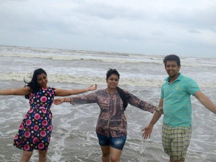 Chetan and his friends at the Coco beach in Goa