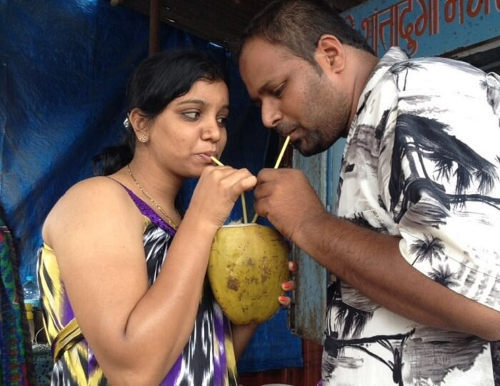 Chetan and his wife share a coconut