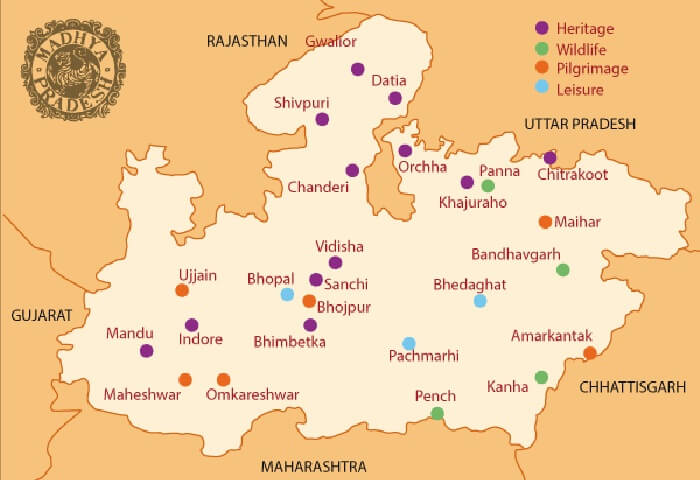 A map showing the highlights of the MP tourism