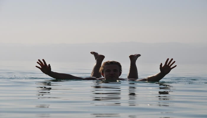 Float on the blue waters of the Dead Sea