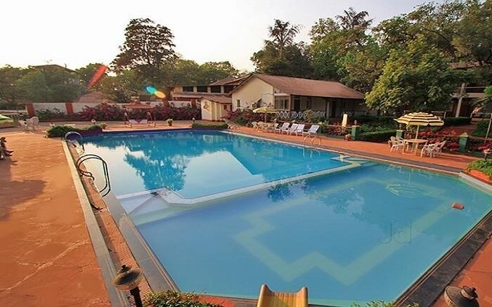 An open swimming pool in a hotel
