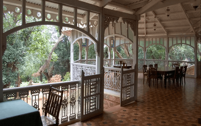 Wooden porch of a beautiful hotel s