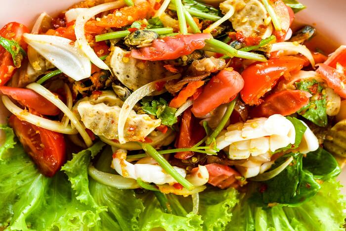 Thai cuisine Yum spicy seafood salad