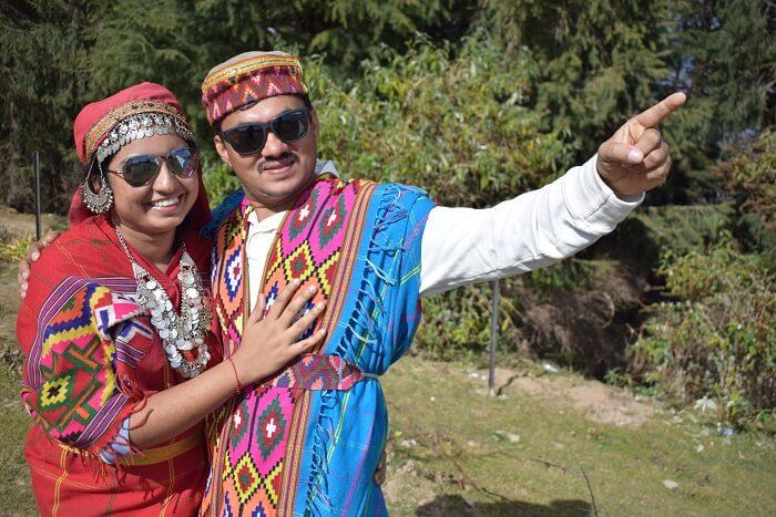 in a traditional attire of shimla